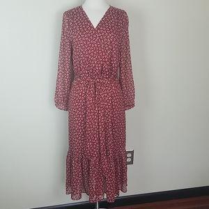 J. CREW red floral dress ruffle hem faux wrap 10